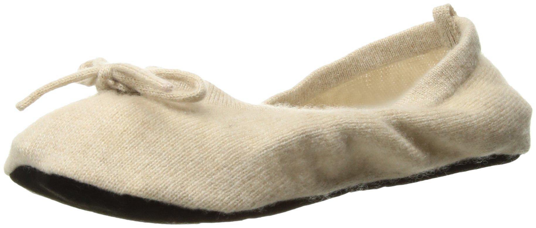 Sofia Cashmere Women's Cashmere Travel Set - Ballet Slippers, oatmeal + ivory, Small / Medium