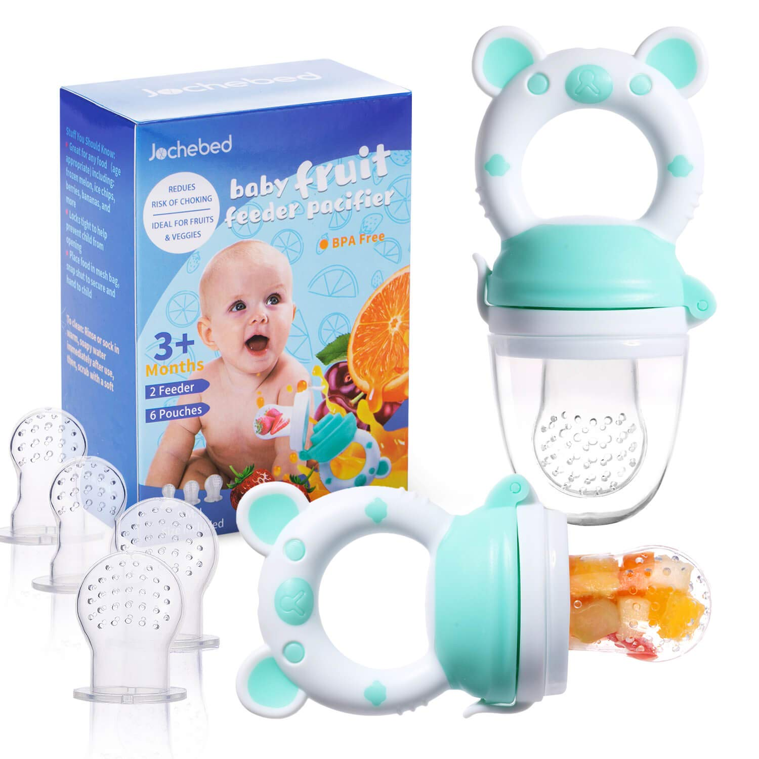 Baby Fruit Food Feeder Pacifier - Fresh Food Feeder, Infant Fruit Teething Teether Toy for 3-24 Months, 6 Pcs Silicone Pouches for Toddlers & Kids & Babies, 2-Packs (Cyan)