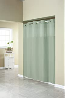 hookless rbh40my409 fabric shower curtain with built in liner sage green