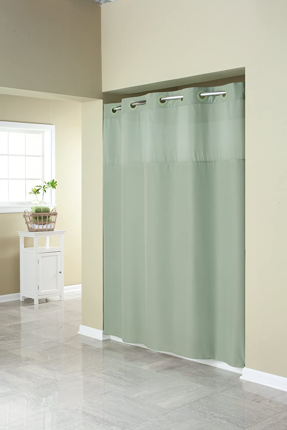 Hookless Fabric Shower Curtain with Built in Liner -Grey Arcs & Angles Inc. RBH40MY408