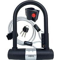Candado de Bicicleta U con Cable, candado para Bici de 16 mm, Cable de Bucle de Acero de 10 mm x 1200 mm, 3 Llaves…