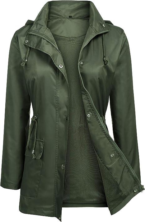 Women Rain Jacket Waterproof Hooded Lightweight Raincoat Active Outdoor Long Windbreaker S-XXL