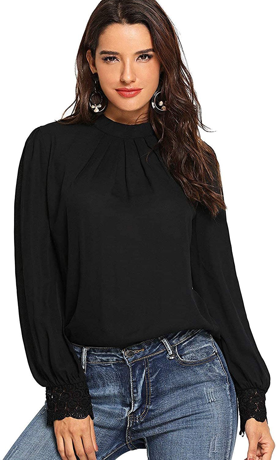 Milumia Women's Elegant Pleated Round Neck Lace Long Sleeve Work Office Blouse Tops