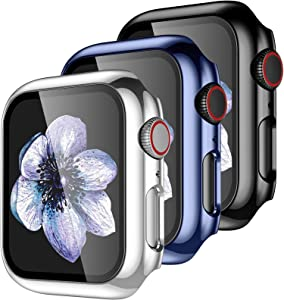 ?3 Pack? Easuny Hard Case Cover Design for Apple Watch Series 3 Series 2 1 38mm with Built-in Glass Screen Protector - Overall Protective Accessories for iWatch Women Men,Black Sea-Blue Silver
