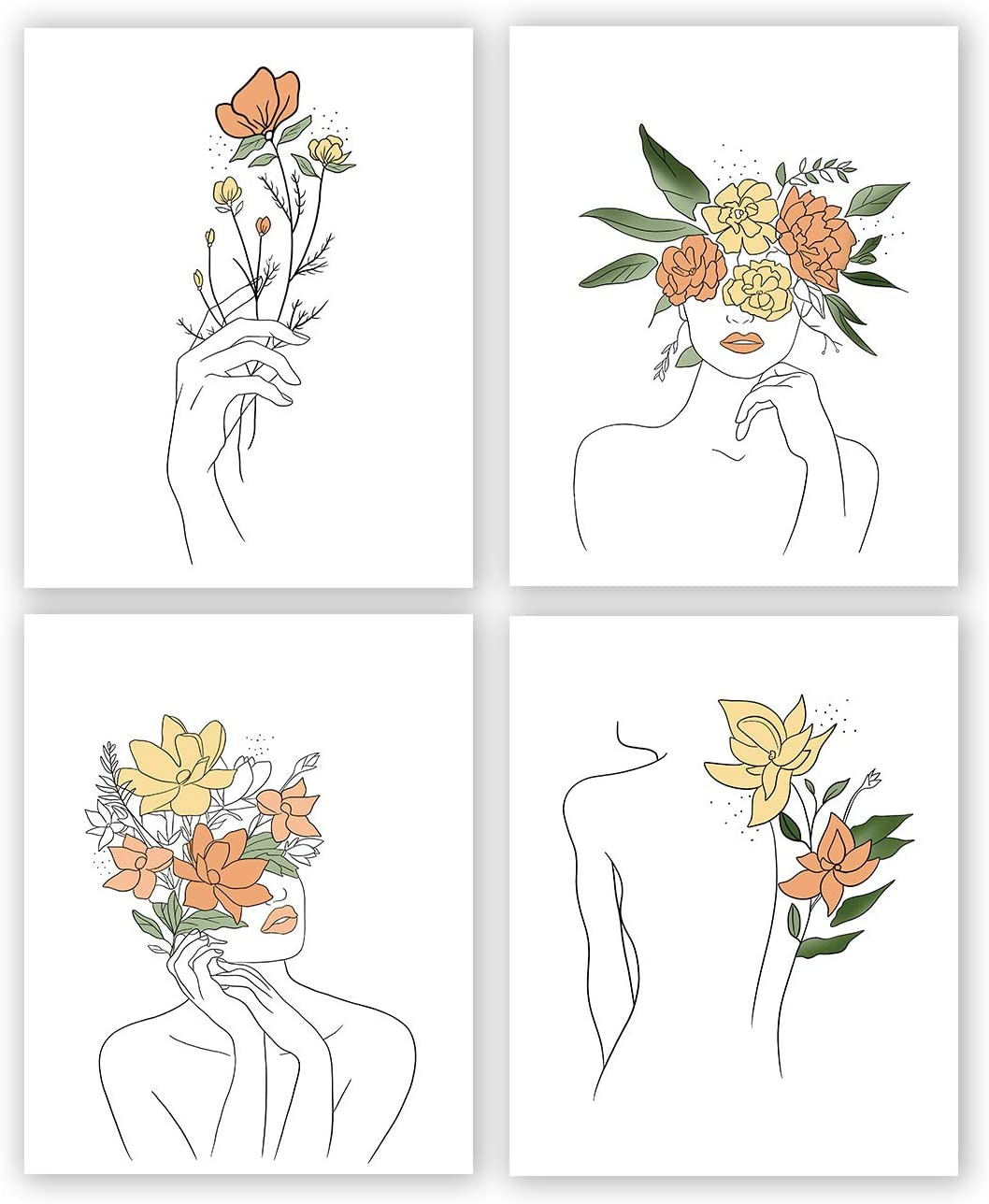 Minimalist Women Flower Wall Art Print-- Dressing Room or Girls Bedroom Decor--Fashion Women Rose Minimal Line Canvas Print ( Set of 4 )--Unframed--8X10 inch