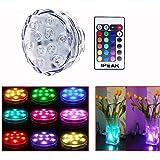 IPEAK 10-LED RGB Submersible LED Light, Multi Color Waterproof Wedding Party Vase Base Floral Light + Romote Control (10-LED means one light has 10 beads)