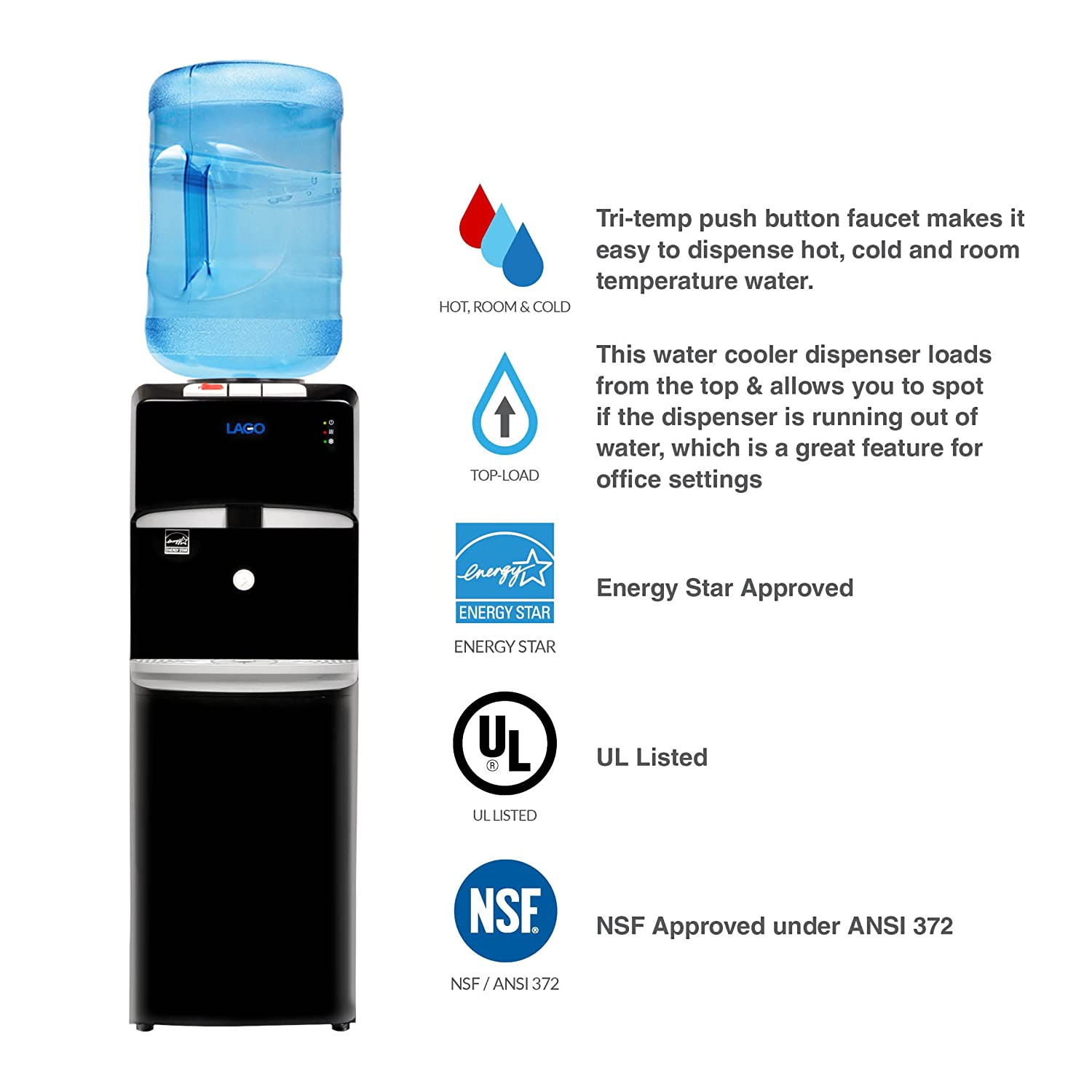 Hot And Cold Water Cooler Dispenser Amazoncom Lago Top Load Hot Cold Room Mini Black Water Cooler