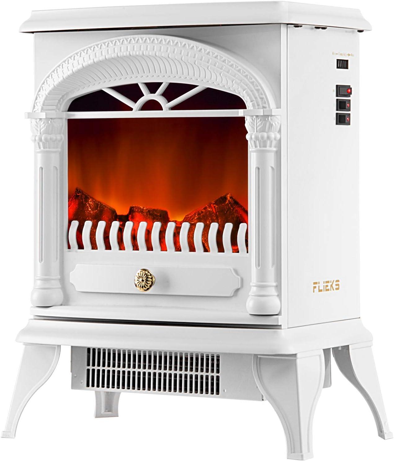 Elektrischer Kamin Elektrokamin Mit Heizlüfter Led Flammeneffekt 2 Heizstufe 3d Realistischer Feuer Kaminofen Elektrisch Freistehend Weiß Küche Haushalt
