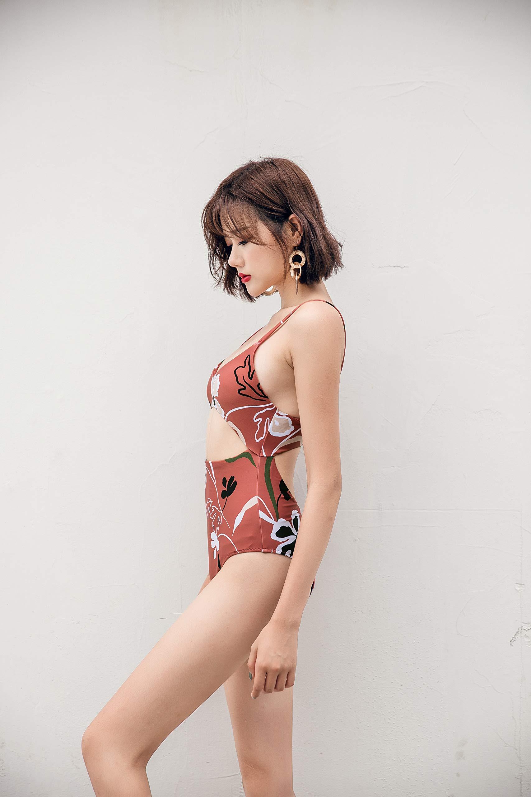 Agreya Women\'s high Slit Halter Back one-Piece Swimsuit (Rusty red Flowers, S)