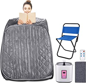 Aceshin Portable Steam Sauna Home Spa, 2L Personal Therapeutic Sauna Weight Loss Slimming Detox with Foldable Chair, Remote Control, Timer (Grey)