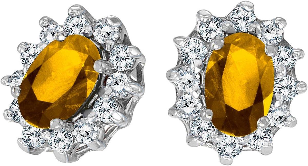 10 K oro blanco oval citrino y pendientes de diamantes, 25 total ct