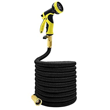 Podura Expandable Garden Hose 25Ft with Solid Brass Connector 9-pattern Nozzle for Watering Plants,Showering Pets,Cleaning Patio - Black