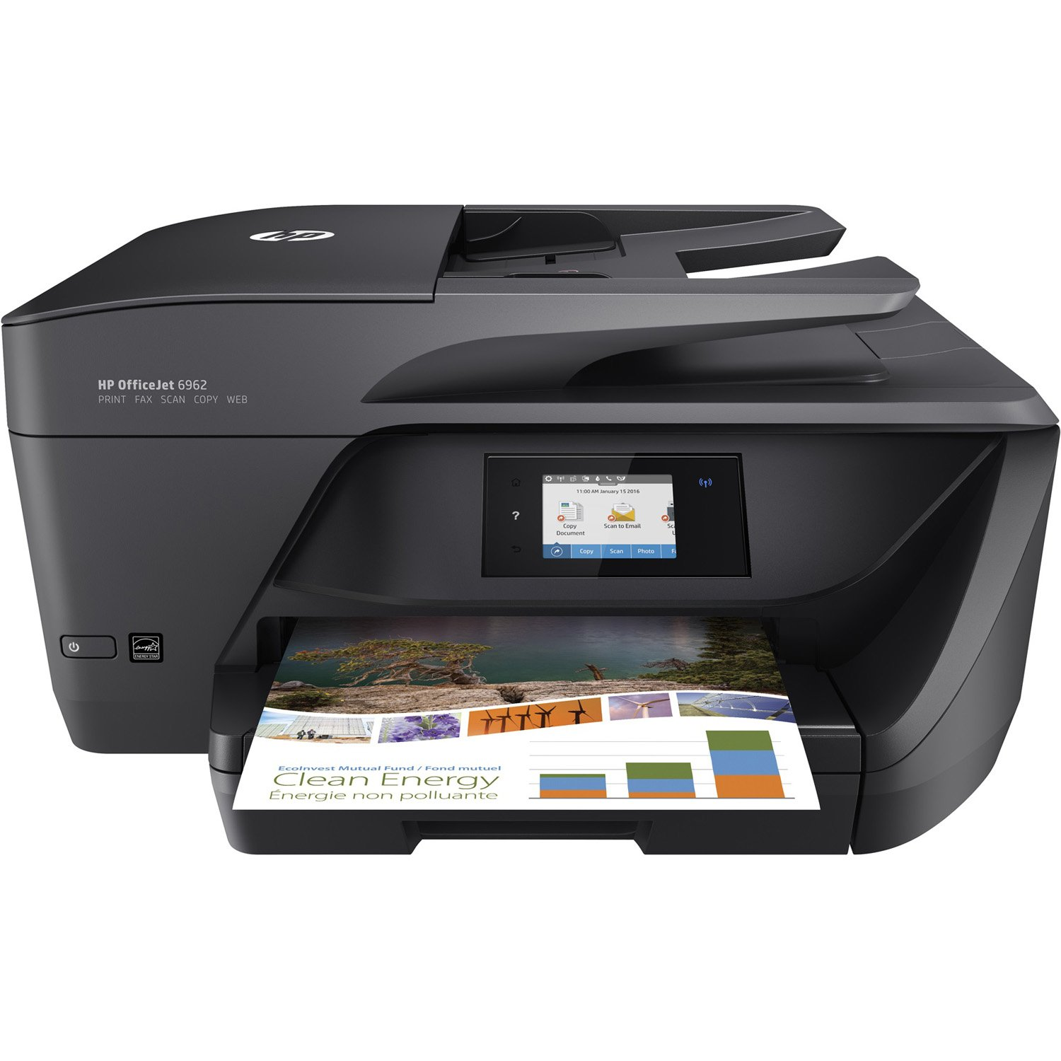 HP OfficeJet 6962 Wireless Colour Photo Printer with Scanner, Copier and Fax, Black (T0G26A#1HA) HEWMJ HP6962