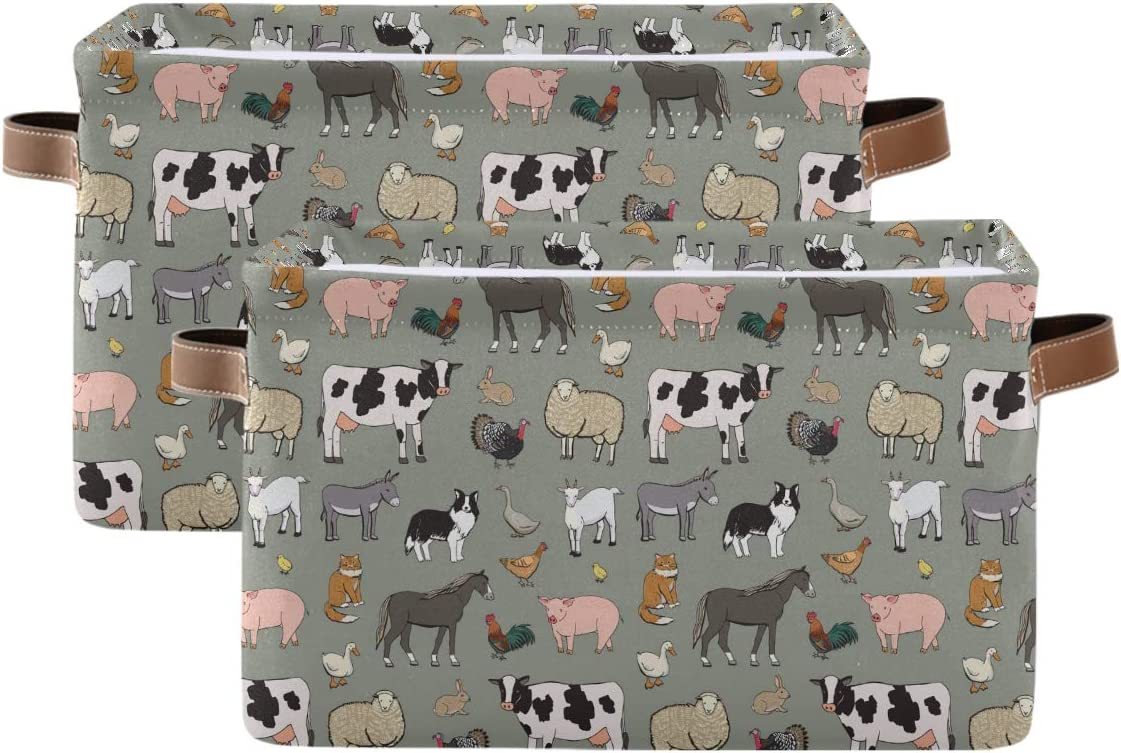 KEEPREAL Farm Animals Pattern Rectangle Storage Bin, 15 x 11 x 9.5 in, Collapsible Organizer Storage Basket for Home Décor,2PACK