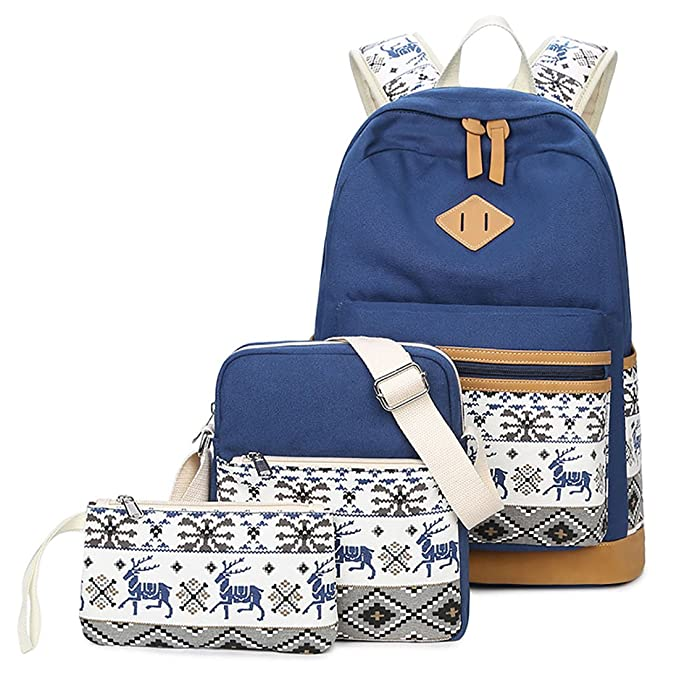 LissomPlume Mochilas escolares juveniles para chicas set de mochila de lona de estudiante mochila niña: Amazon.es: Ropa y accesorios