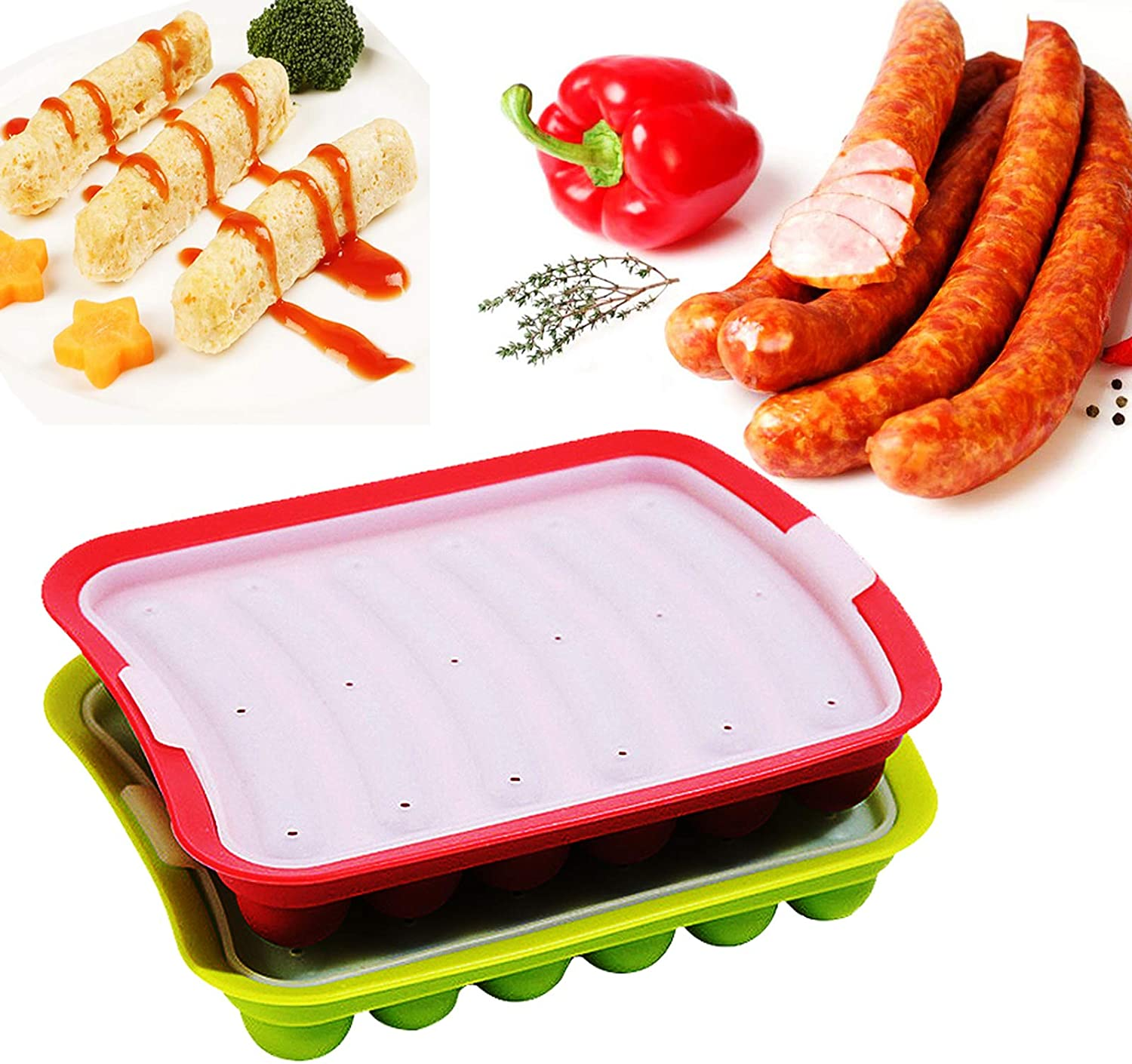 Silicone Sausage Mold Non-Stick, DIY Children's Hot Dogs Baking Mold for Egg Sausage and Baby's Supplementary Sausage Mold, lce Candy Jelly Chocolate Mould(Green + Red)