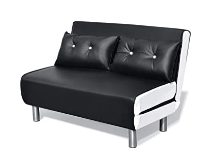 Phenomenal Cherry Tree Furniture Algo 2 Seater Small Double Folding Sofa Bed With Cushion Black White Pu Leather Home Remodeling Inspirations Genioncuboardxyz