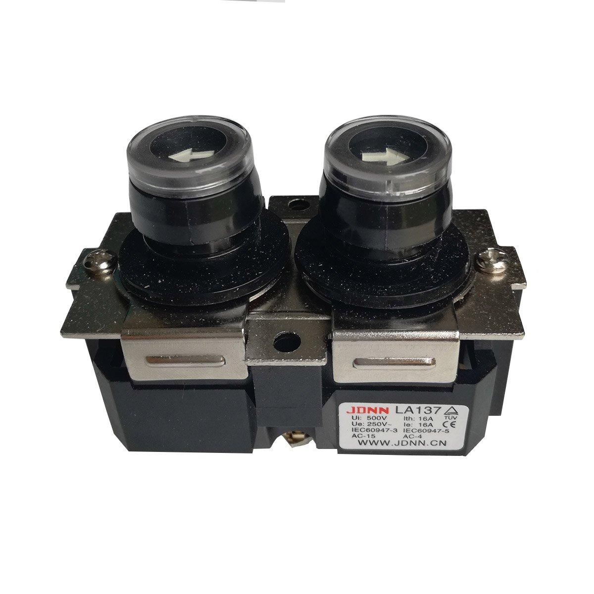 LA137 16A Up Down Waterproof NO Push Button Switch Micro-electric Control Pushbutton Switches for Crane Electric Hoist 220VDC 380VAC (LA137-B)