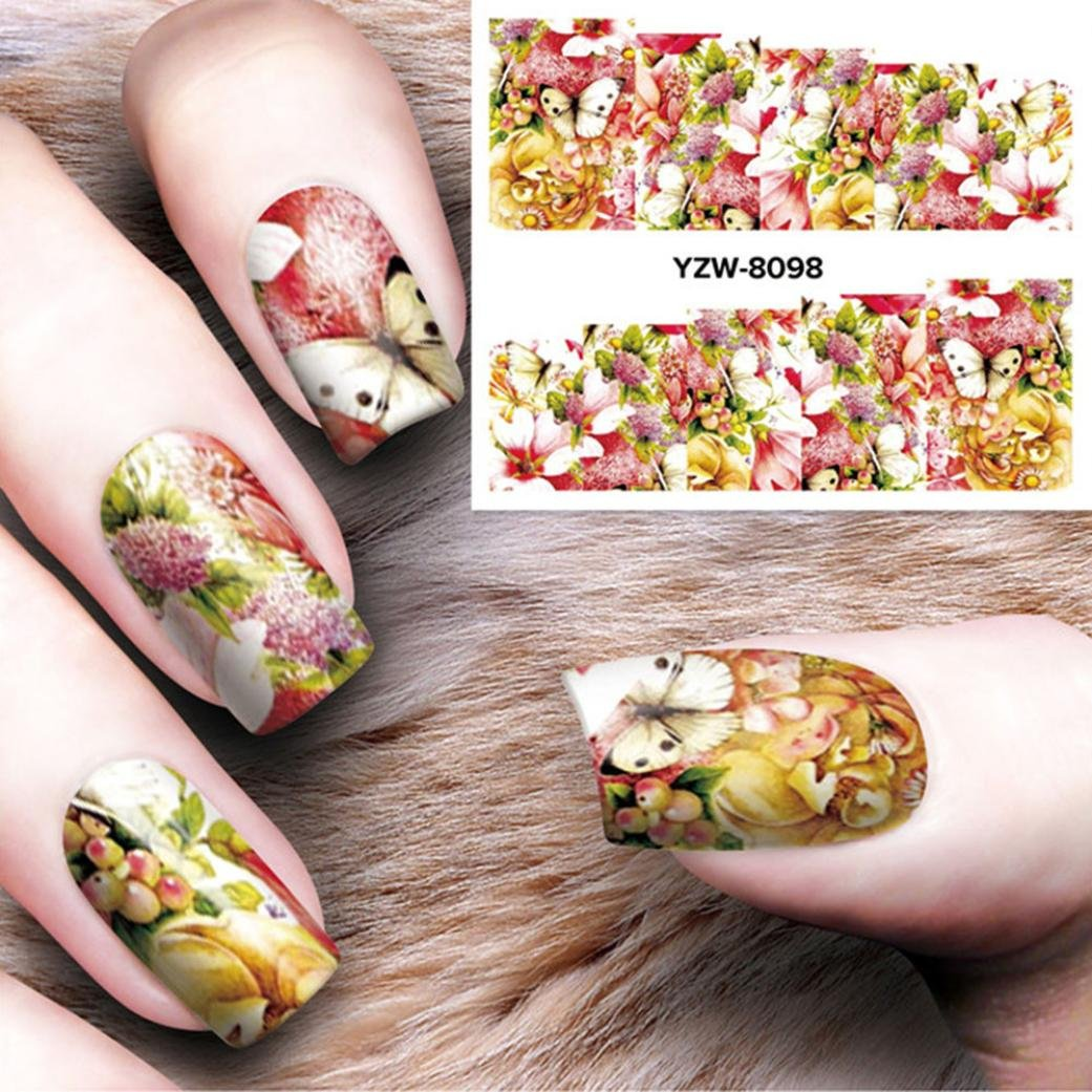 Amazon.com: Nail Art Stickers for Women Teens Girls, Iuhan® DIY Nail Applique Adhesive Flower Rattan Nail Sticker Lace Design Nail Paste (F): Health ...