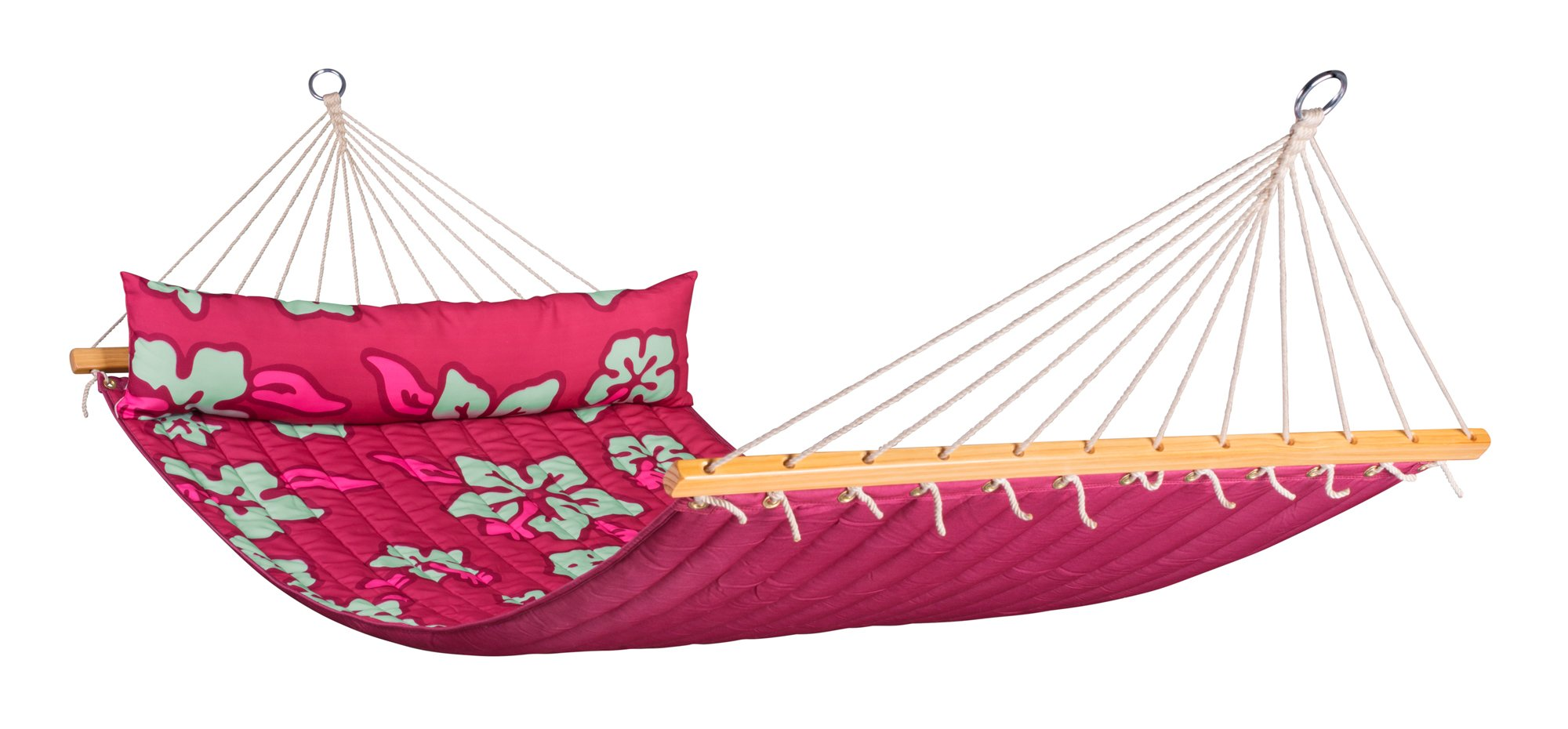 LA SIESTA Hawaii Hibiscus - Weather-Resistant Quilted Double Spreader Bar Hammock