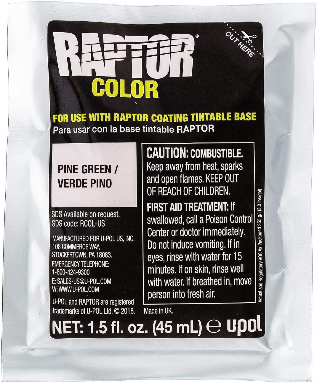 U-POL Raptor Tintable Truck Bed Liner 4 Liter Kit w//Pine Green Color Tint Pouch 1.5 Ounce