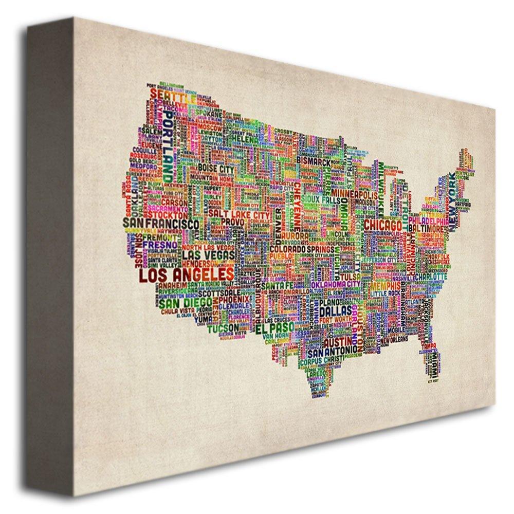 US Cities Text Map VI by Michael Tompsett 22x32-Inch Canvas Wall Art Trademark Fine Art MT0076-C2232GG