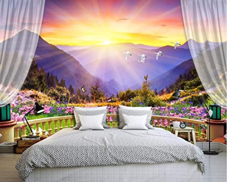 Merveilleux Lqwx Beautiful Colorful Balcony Mountain Bedroom Wallpaper Nature Scenery  Wallpapers Photo 3D Wall Murals For Sofa
