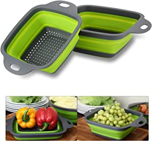 Practical Foldable Square Draining Basket Collapsible Colander Colanders Dishwasher Safe BPA Free Silicone Food Strainer with Plastic Handles (11.4 x 8.7inch, green)