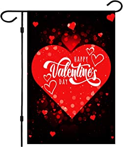 Valentine Flag, Double Sided Valentine's Day Flag Red Love Valentine Garden Flag 12 x 18 Inch Valentine House Flags for Valentine's Day Decoration