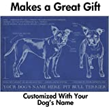 Pit Bull Blueprint with Personalized Dog Name - Makes a Great Gift - Unframed Art Poster