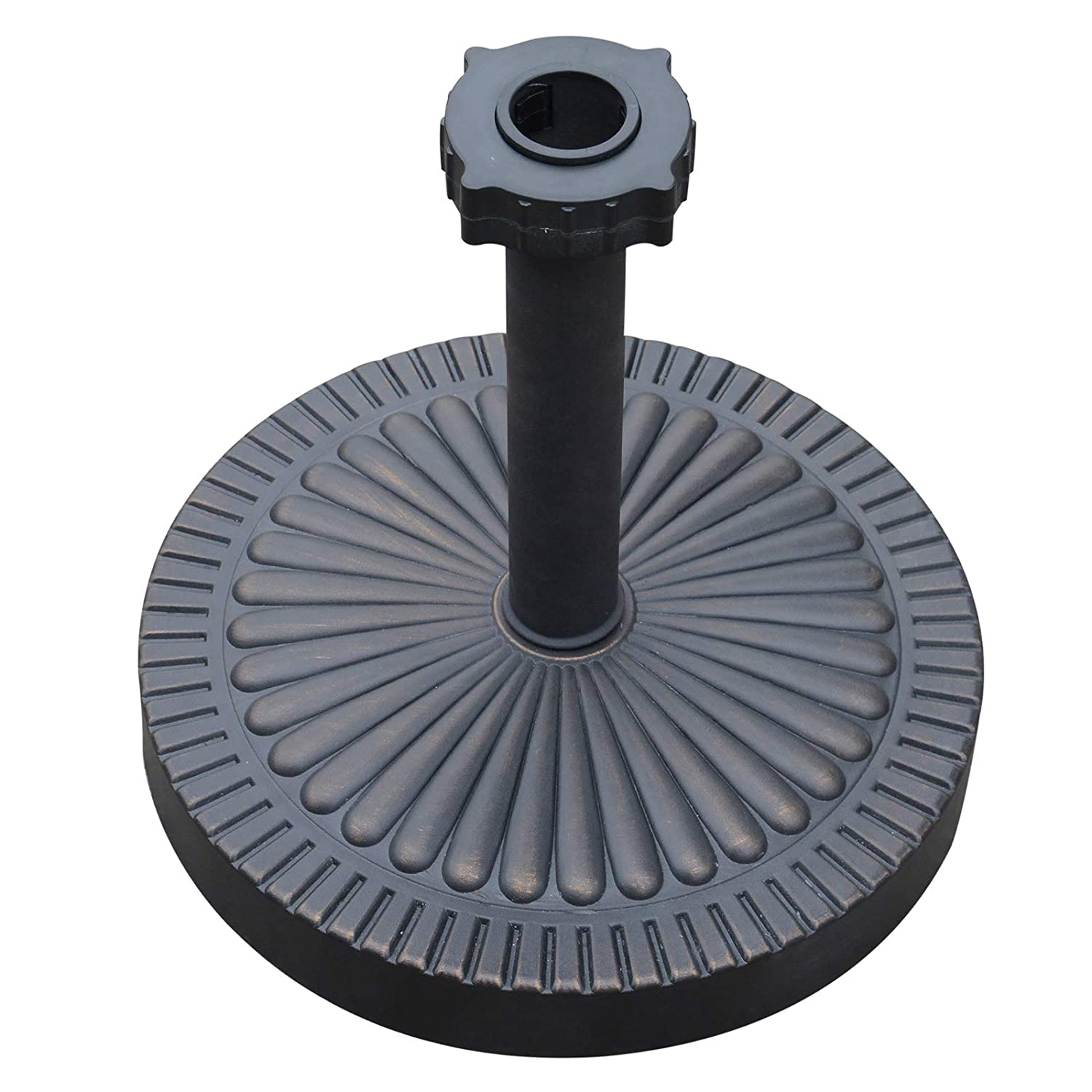 Outsunny Decorative Round Cement Weighted Sun Shade Poolside Patio Umbrella Stand