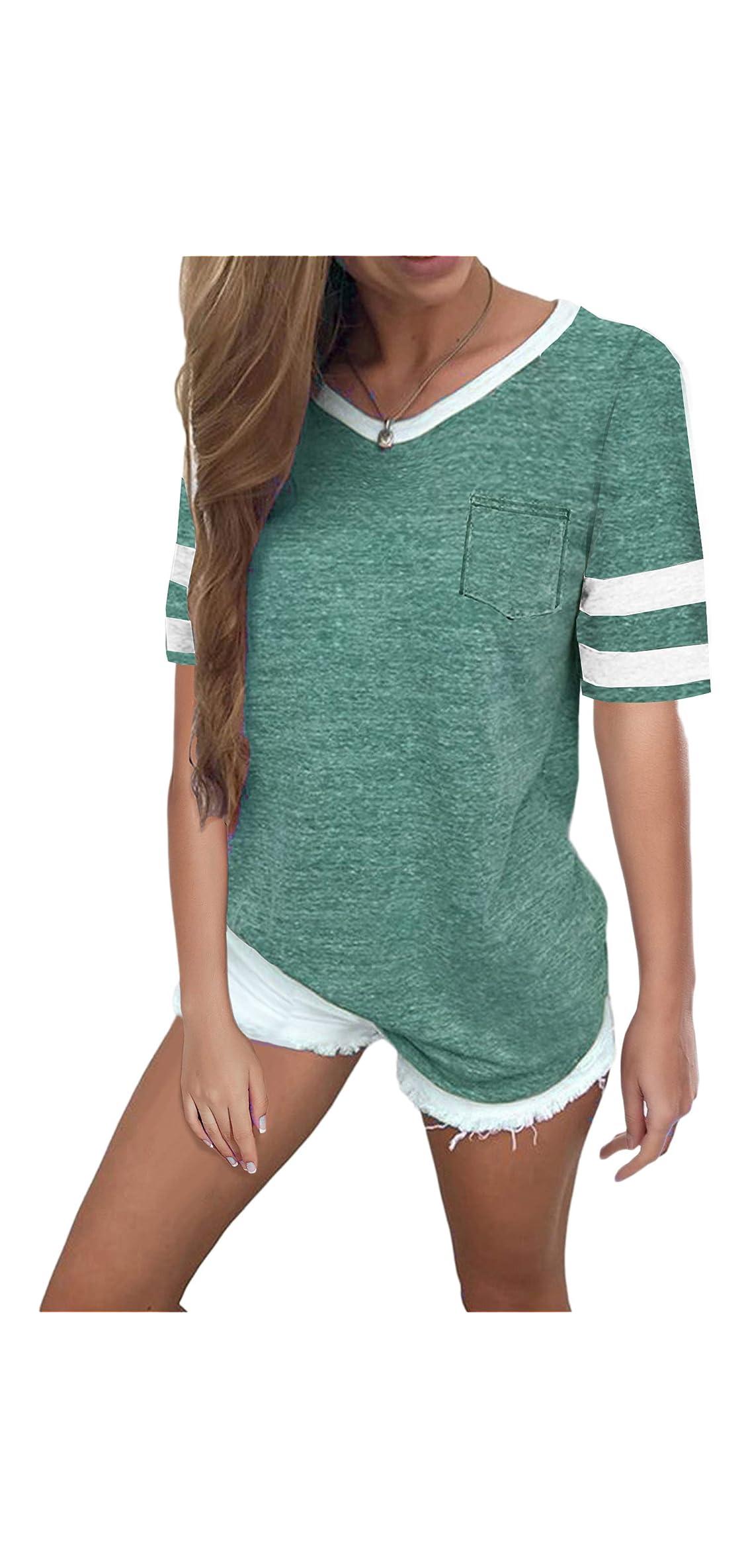 Women's Tops Casual Cotton V Neck Sport T Shirt Sleeve