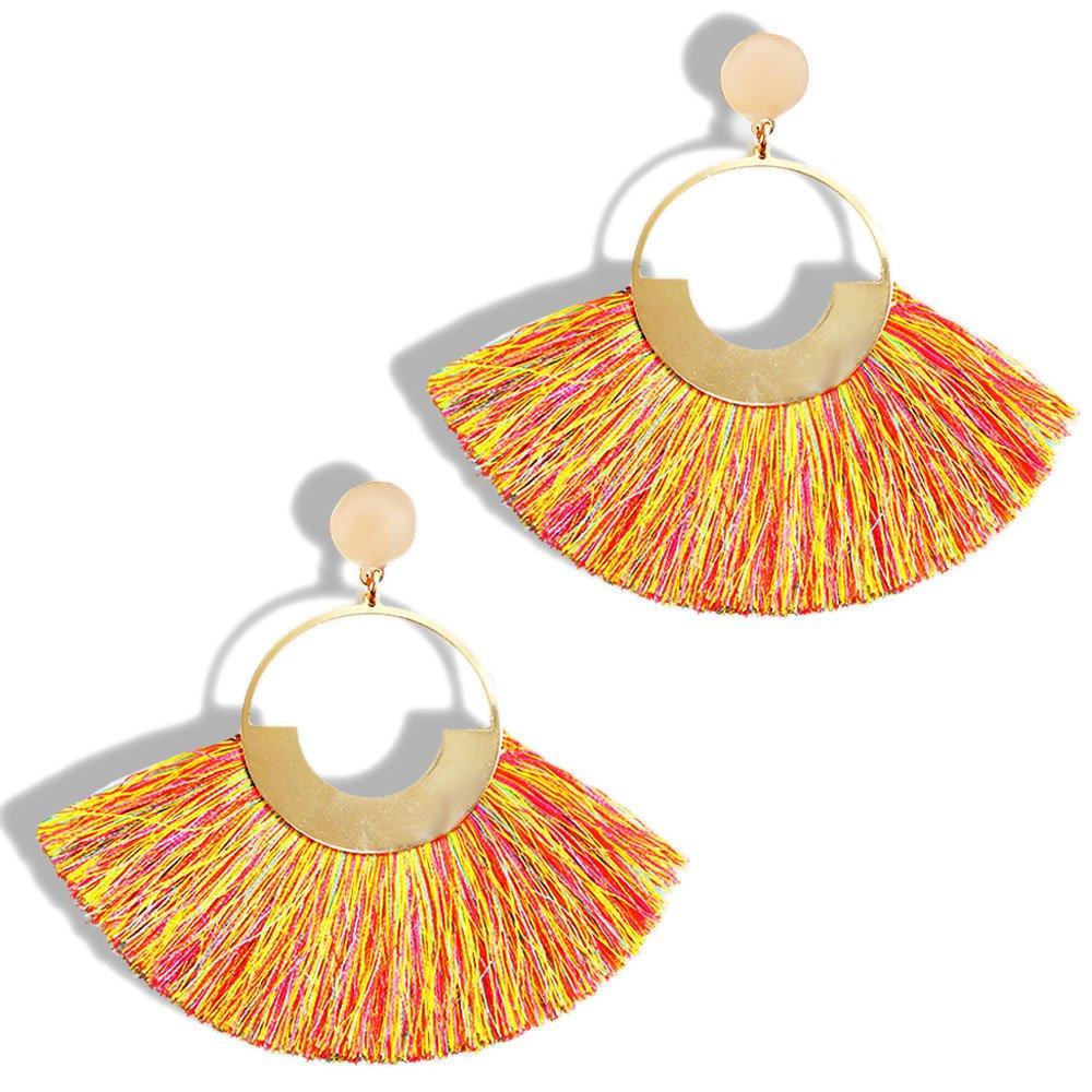 FIFATA Multicolored Short Wool Tassel Earrings for Women Colorized Thread Fringe Earrings for Girls (Round summer orange)