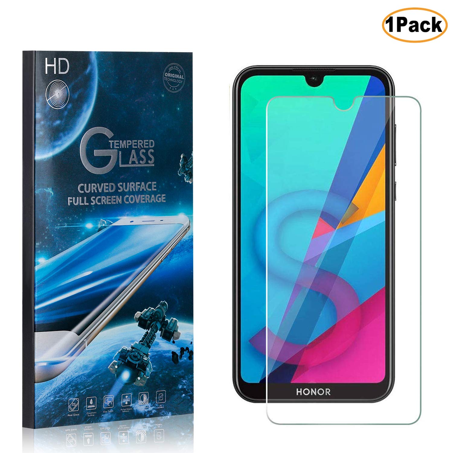 1 Pack CUSKING Huawei Honor 8S Screen Protector Tempered Glass 9H Hardness Abrasion Resistance Anti Scratch Screen Protector for Huawei Honor 8S