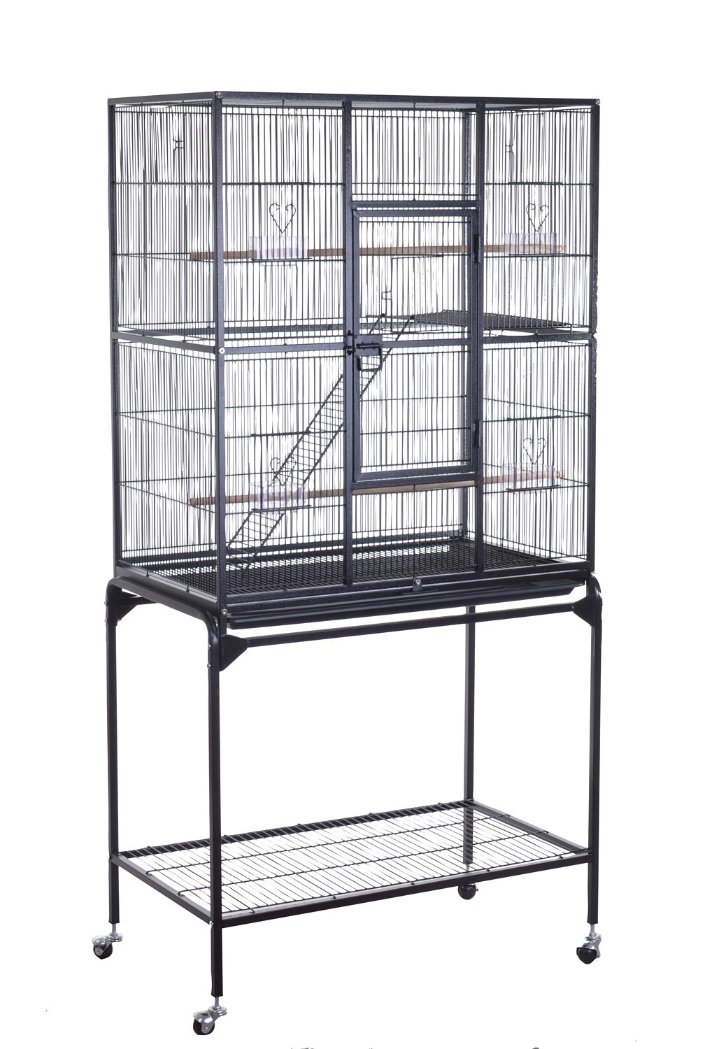 HomCom 63-inch Metal Bird Cage Wire Parrot Decorative House w ...