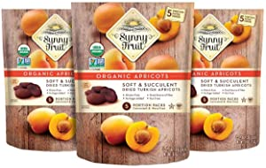 ORGANIC Turkish Dried Apricots - Sunny Fruit - (3 Bags) - (5) 1.76oz Portion Packs per Bag | Purely Apricots - NO Added Sugars, Sulfurs or Preservatives | NON-GMO, VEGAN, HALAL & KOSHER
