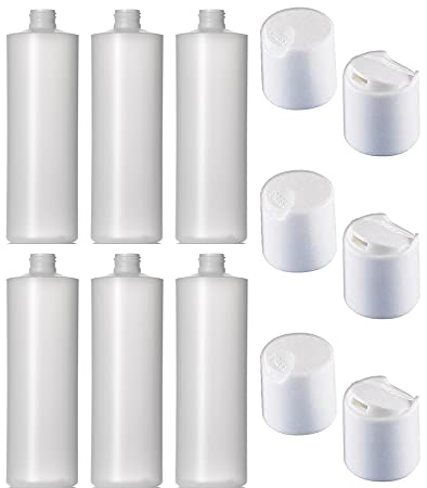 Amazon.com: 6 Pack rellenables 16 onza HDPE Squeeze botellas ...