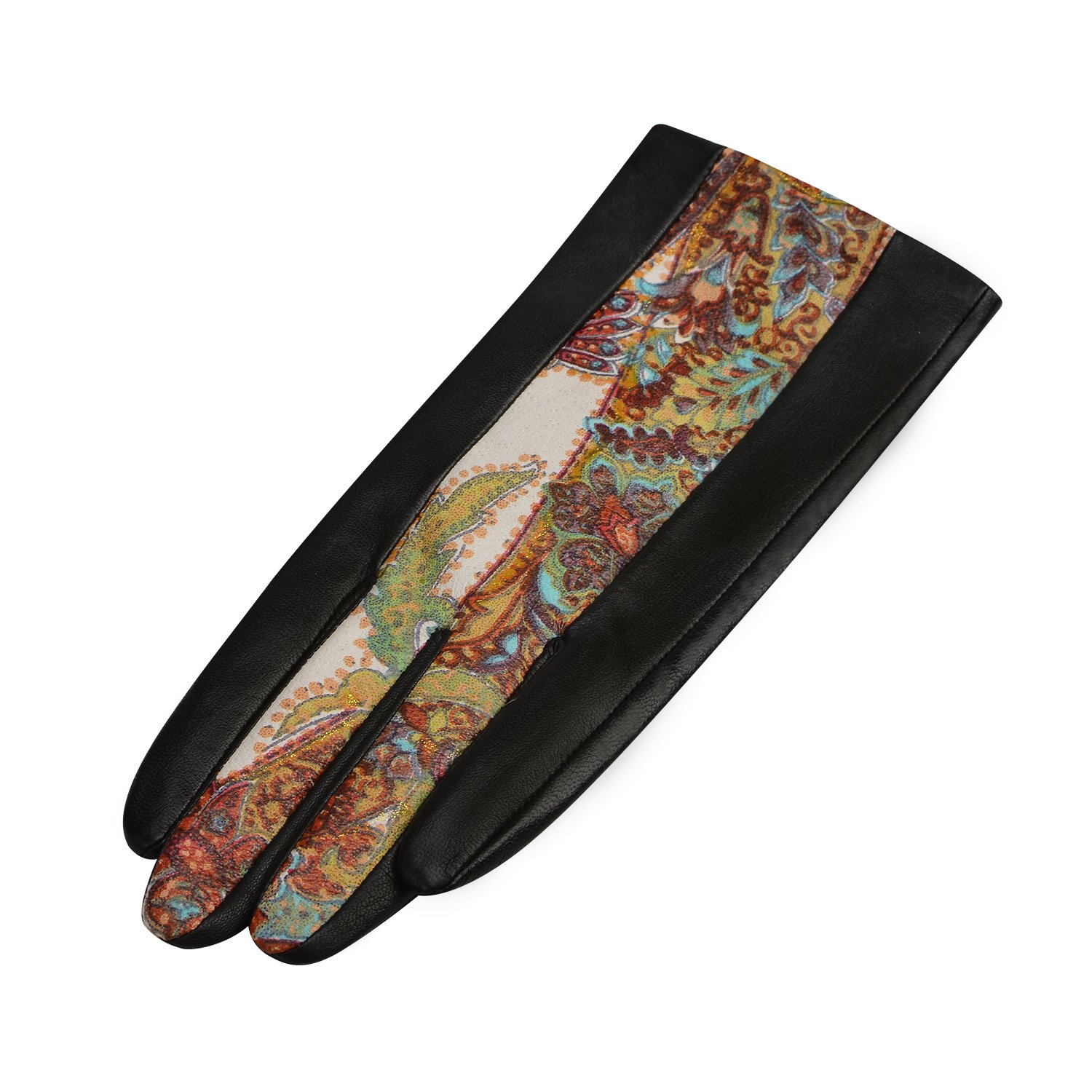 GSG Womens Novelty Paisley Italian Genuine Nappa Leather Gloves Lady Winter Gloves Full Palm Touchscreen 7 Black-Z by GSG (Image #4)