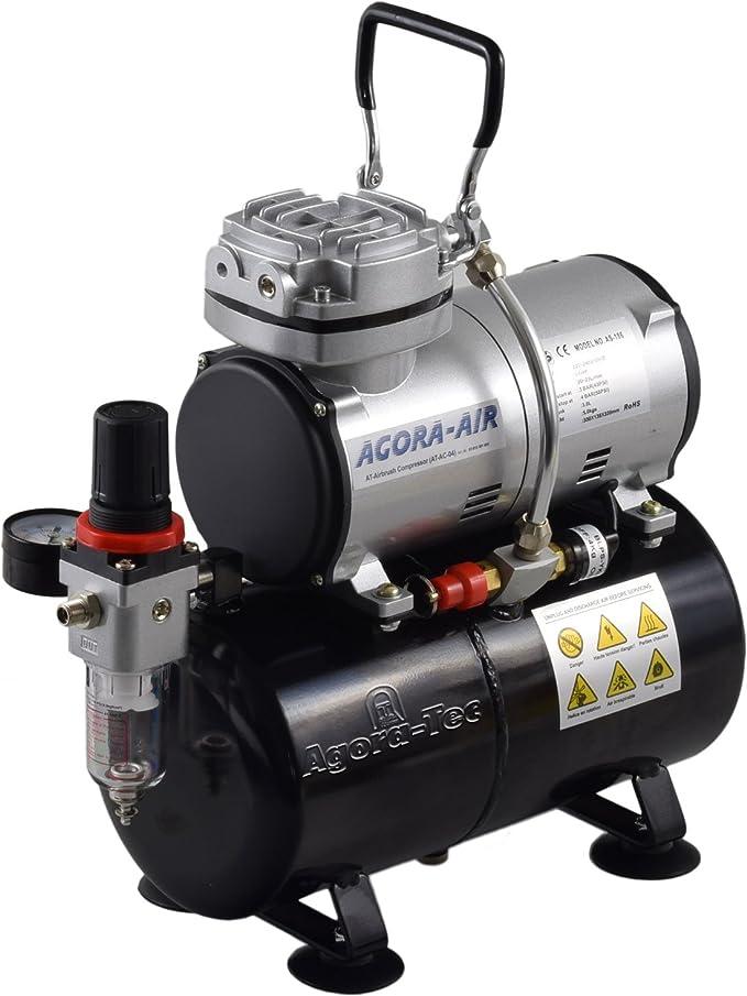 Agora Tec Airbrush Compressor At Ac 04 Kompressor Für Airbrushanwendungen Mit 4 Bar Und 21 6l Min Inkl 3 0 L Tank Inkl Kondenswasserfilter Und Druckregler Baumarkt