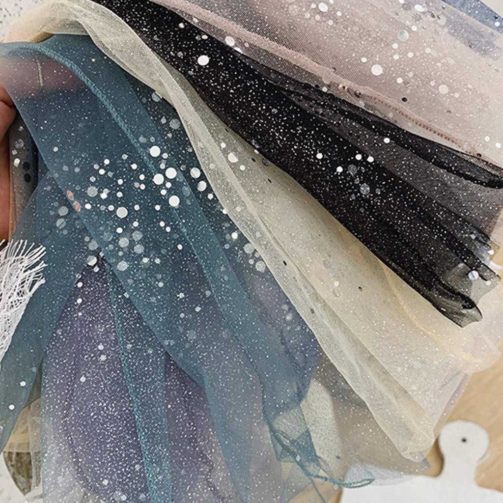 GUOjianhui Calzini da donna e ragazza in chiffon e tulle a rete trasparente con lustrini
