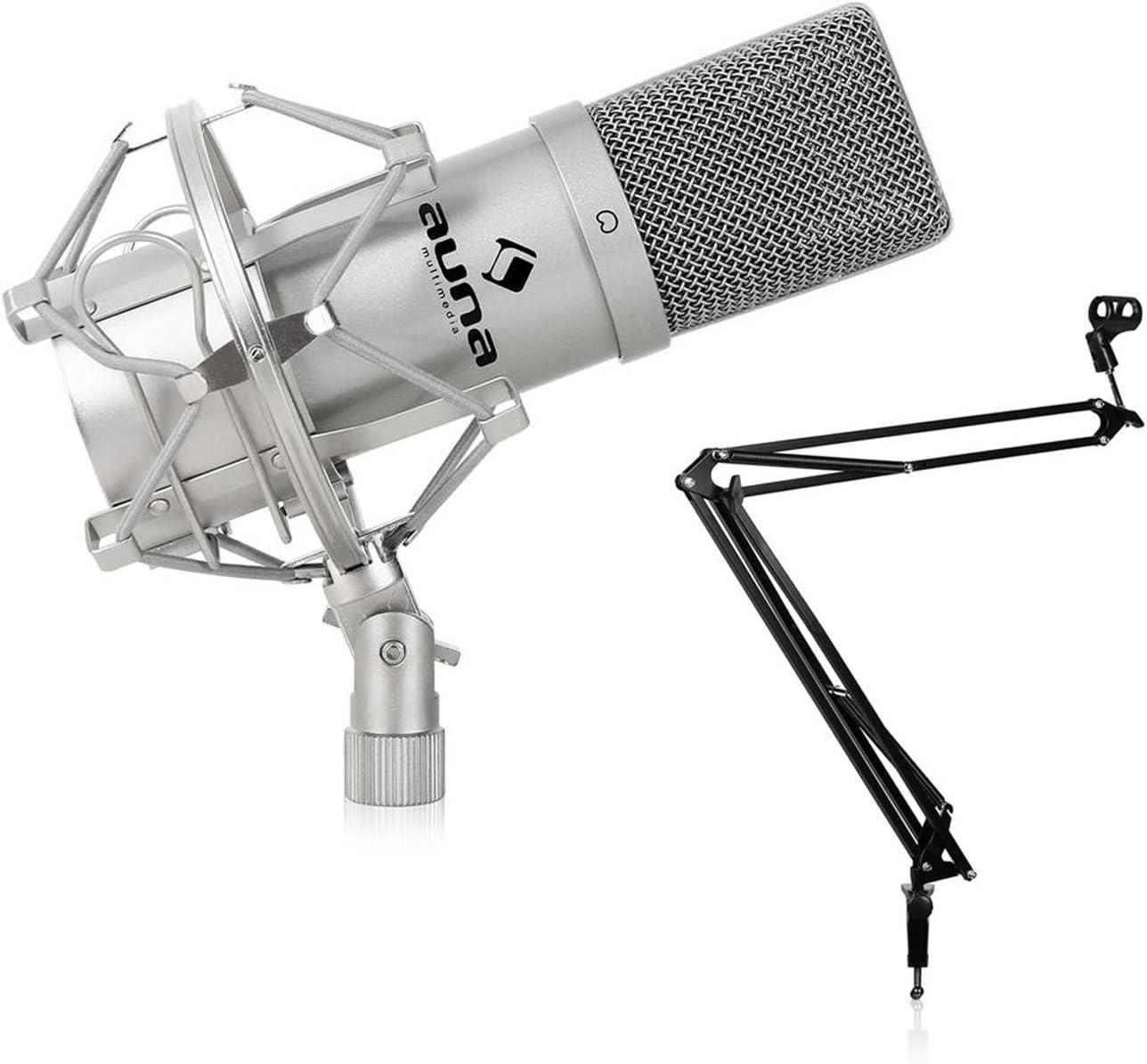 voix et chant avec micro USB Auna MIC-900 et support Set complet pour streaming podcast argent Podcast Pack