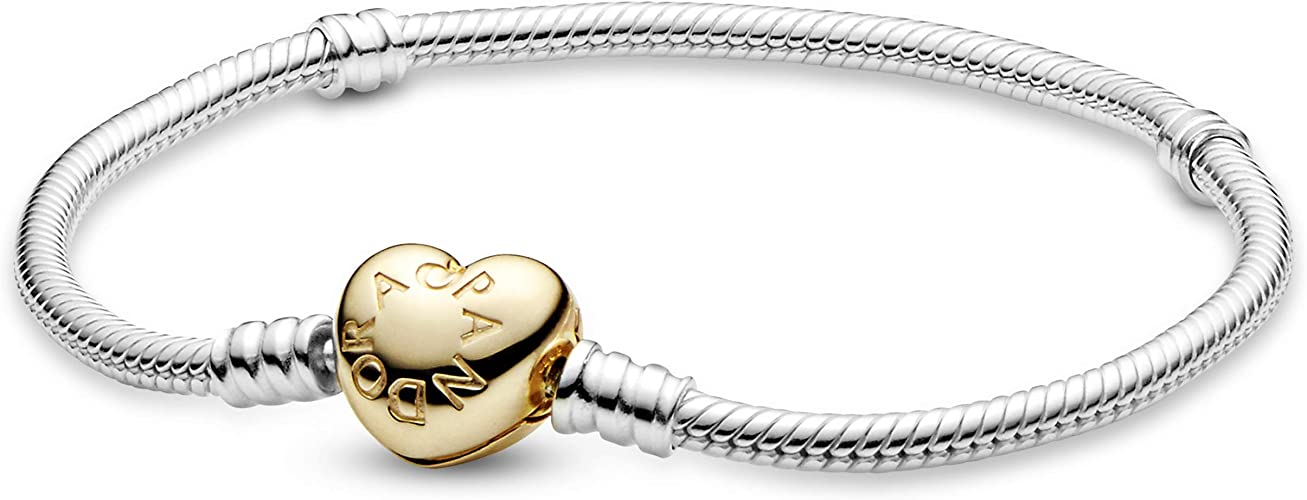 Pandora Jewelry Moments Heart Clasp Snake Chain Pandora Shine and Sterling  Silver Bracelet