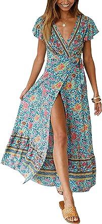Womens Plus Size Boho Floral Maxi Long Dresses Wrap V Neck High Split Casual Summer Beach Dress At Amazon Women S Clothing Store