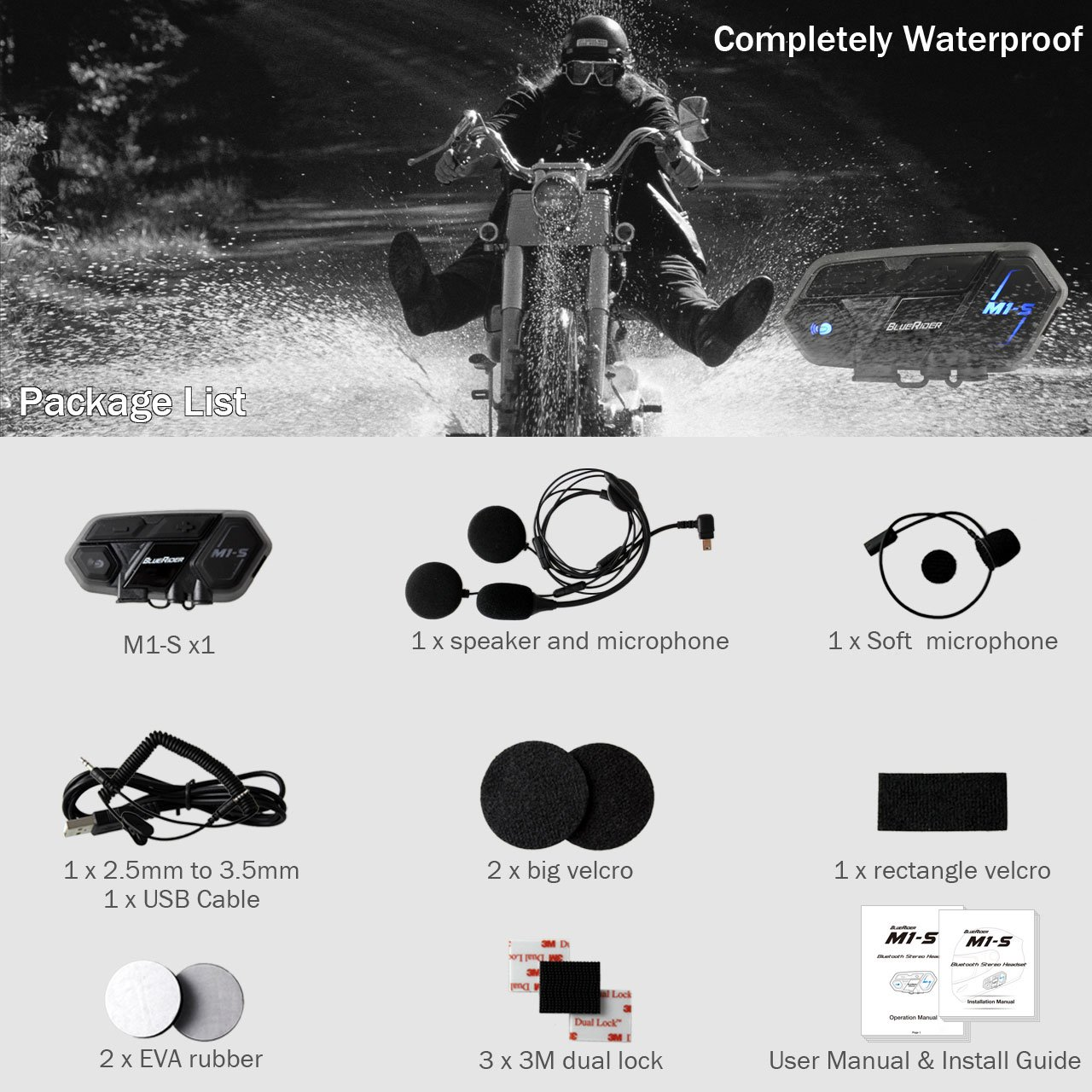 Motorcycle Bluetooth 4.1 Helmet Headset and Intercom Communication Systems Kit, Supports 8 riders group intercom, Handsfree Calls Voice Command 12hrs with Speakers headphones for Motorbike Skiing by BIBENE (Image #7)