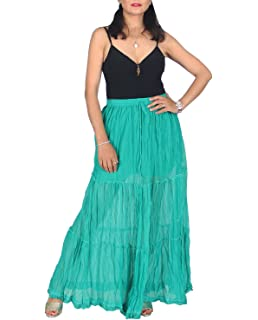 78b77eeccf5f KayJayStyles Solid Hippie Gypsy Bohemian Full Circle Ruffle Maxi Long  Cotton Skirt