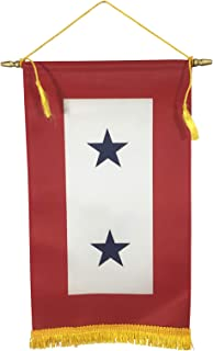 product image for Gettysburg Flag Works 8x14 2 Blue Star Satin Indoor Service Star Window Banner with Hanging Cord, Made in USA
