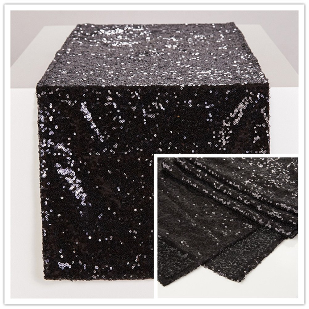 Zdada 12 by 70-Inch Black Wedding Sequin Table Runners for Baby Shower
