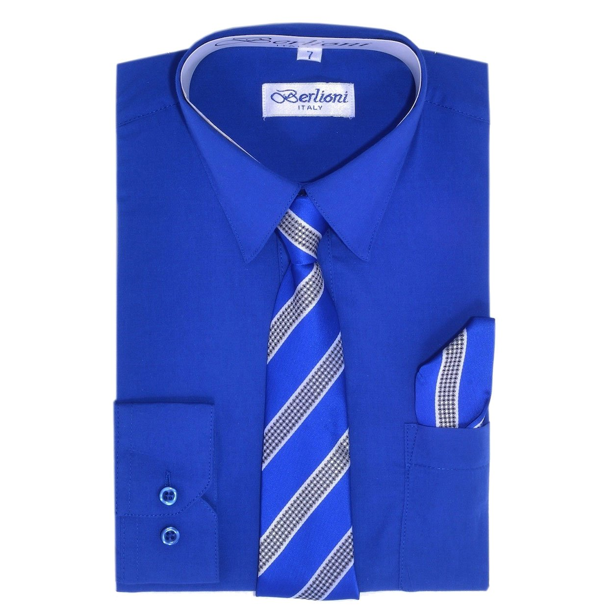 Royal Boys Fashion Solid Dress Shirt Tie and Hanky Set