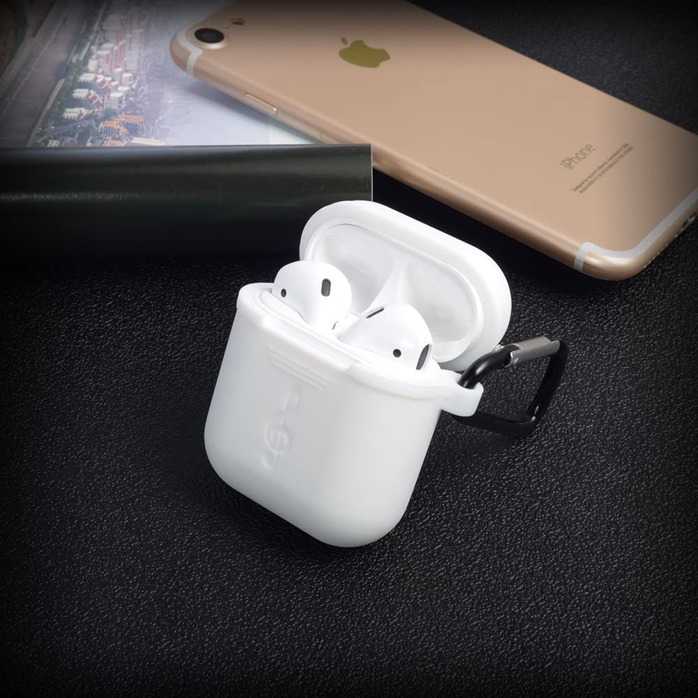Apple Earbuds Case Wireless Earphone Accessories Silicone Headphone Protective Cover with Aluminum Keychain for Apple AirPods Wireless Earphone Charging Case