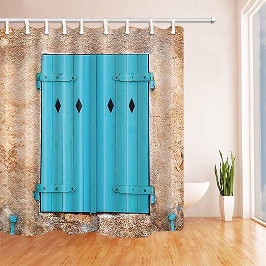 SHUHUI Persianas Cortinas Ducha para baño Azure Puerta Mara en Pared ladrillo en Tejido Village Ganchos para baño a Prueba agua180X180CM: Amazon.es: Hogar